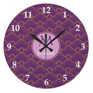 日本人のSeigaihaの帆立貝の紫色の金ゴールドのピンク東洋 ラージ壁時計