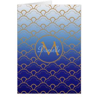 日本人のSeigaihaの帆立貝のGradatedのロイヤルブルーの金ゴールド カード