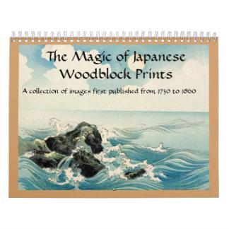 日本人のWoodblockのプリントの魔法 カレンダー