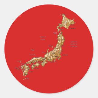 日本地図のステッカー ラウンドシール