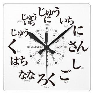 日本平仮名のスタイル[白い顔] スクエア壁時計