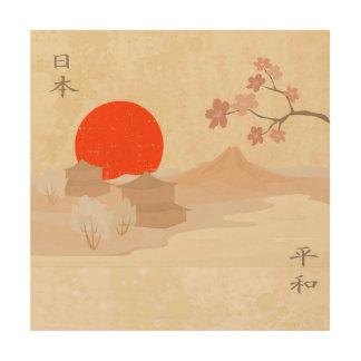 日本景色の絵 ウッドウォールアート