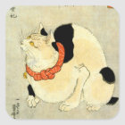 日本猫、国芳の日本のな猫、Kuniyoshi、Ukiyo-e スクエアシール