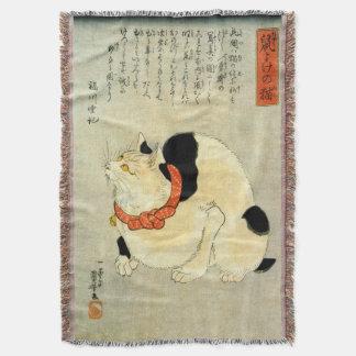 日本猫、国芳の日本のな猫、Kuniyoshi、Ukiyo-e スローブランケット