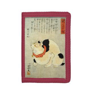 日本猫、国芳の日本のな猫、Kuniyoshi、Ukiyo-e ナイロン三つ折りウォレット