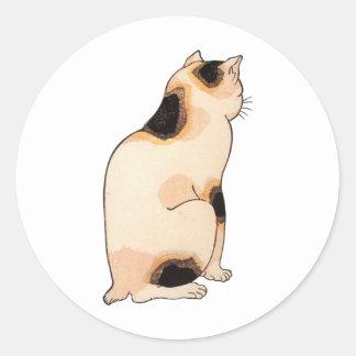 日本猫、国芳の日本のな猫、Kuniyoshi、Ukiyo-e ラウンドシール