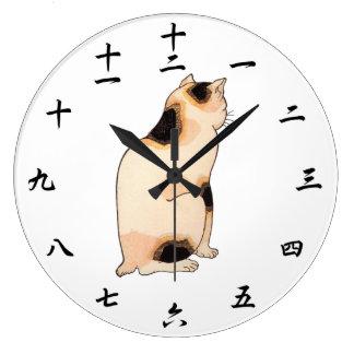 日本猫、国芳の日本のな猫、Kuniyoshi、Ukiyo-e ラージ壁時計