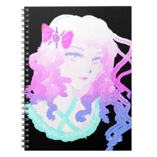 日本製アニメのヒップスターのかわいいのパステル調の気色悪くかわいい女の子 ノートブック