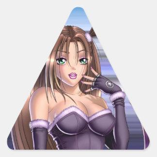 日本製アニメの女の子- Nikki 三角形シール