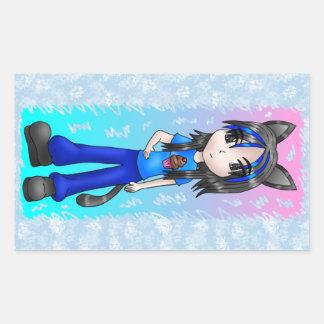 日本製アニメのcatgirlのステッカー 長方形シール