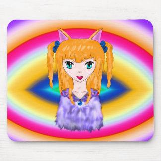 日本製アニメ猫の女の子 マウスパッド