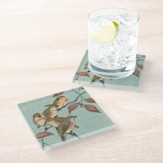 日本語は緑の鳥ガラスのコースターを印刷します ガラスコースター