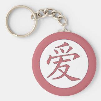 日本語-中国のな愛爱 ベーシック丸型缶キーホルダー