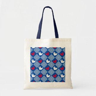 日本語Origamiは伸ばしますパターン(Orizuru)を トートバッグ
