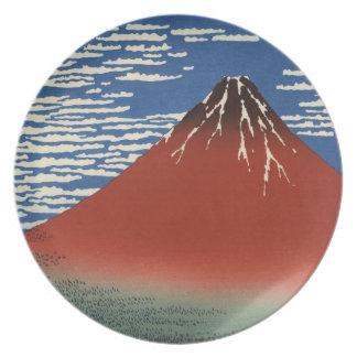 日本語Woodblock: 富士の赤い南風 プレート