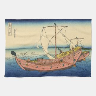 日本語Woodblock: Kazusaの海上ルート キッチンタオル