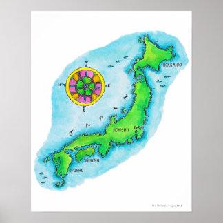日本2の地図 ポスター