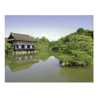 日本、京都のHeianの神社2の日本のな庭 ポストカード