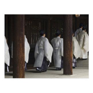 日本、東京のMeijiの神社の秋のフェスティバル ポストカード
