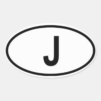 """日本""""J """" 楕円形シール"""