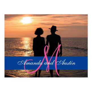 日没か結婚で手を握るロマンチックなカップル ポストカード