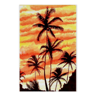 日没のやしプリント ポスター