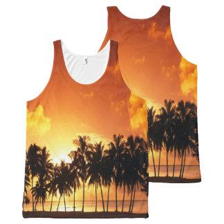 日没のやしワイシャツ オールオーバープリントタンクトップ