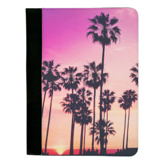 日没のやし紫色の熱帯空 パッドフォリオ