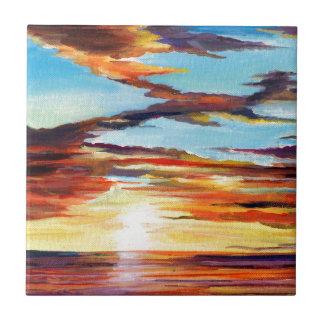 日没のアクリルの絵画 タイル