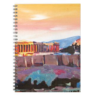 日没のアテネギリシャのアクロポリス ノートブック