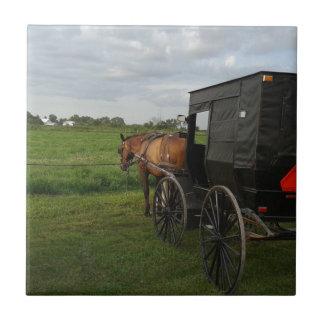 日没のアマン派の馬そして乳母車 タイル