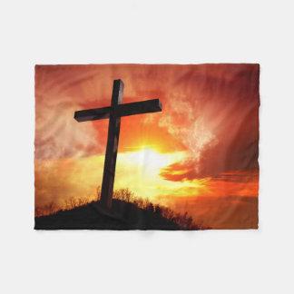 日没のイースター宗教十字 フリースブランケット