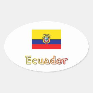 日没のエクアドルの旗の楕円形のステッカー 楕円形シール