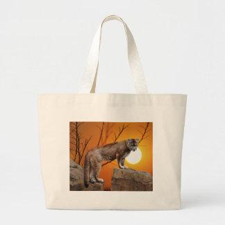 日没のオオヤマネコ ラージトートバッグ