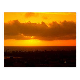 日没のオーシャンサイド、カリフォルニアの郵便はがき ポストカード