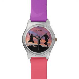 日没のカスタムなモノグラムの腕時計の跳躍 腕時計