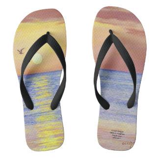 日没のカモメのビーチサンダル ビーチサンダル
