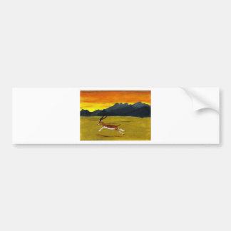 日没のガゼルの野性生物の芸術 バンパーステッカー