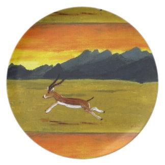 日没のガゼルの野性生物の芸術 プレート