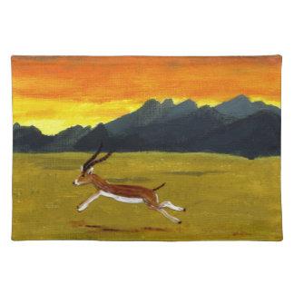日没のガゼルの野性生物の芸術 ランチョンマット