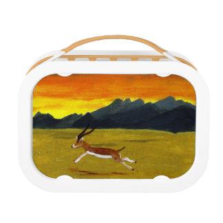 日没のガゼルの野生動物の芸術 ランチボックス