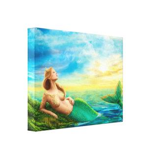 日没のキャンバスのプリントのファンタジーの人魚 キャンバスプリント