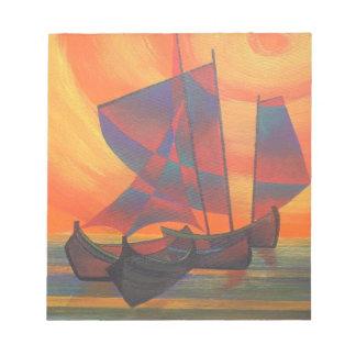 日没のキュービズムのがらくたの抽象芸術の赤い帆 ノートパッド