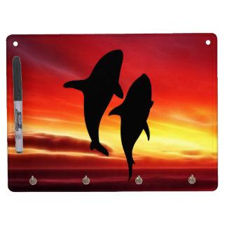 日没のクジラのダンス キーホルダーフック付きホワイトボード