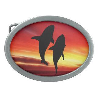 日没のクジラのダンス 卵形バックル
