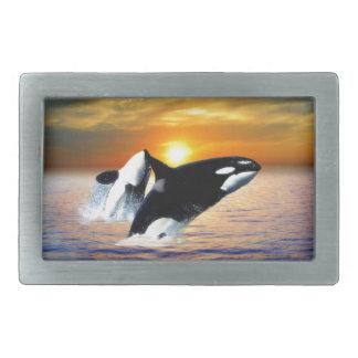 日没のクジラ 長方形ベルトバックル