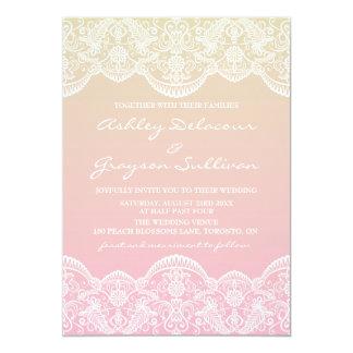 日没のグラデーションなレースパターン結婚式 カード