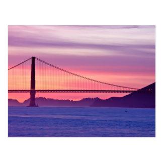 日没のゴールデンゲートブリッジ ポストカード