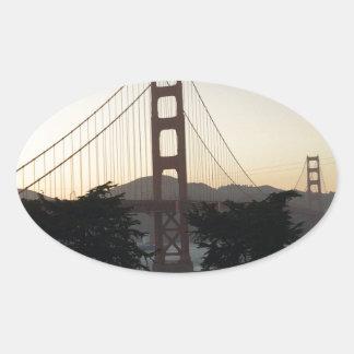 日没のゴールデンゲートブリッジ 楕円形シール