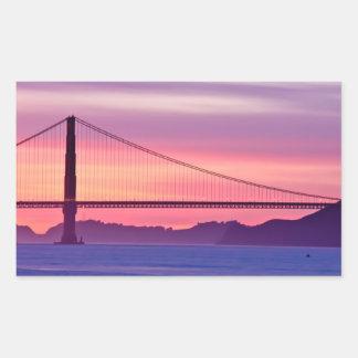 日没のゴールデンゲートブリッジ 長方形シール